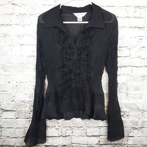 Black Sheer Ruffle Long Sleeve Top XL